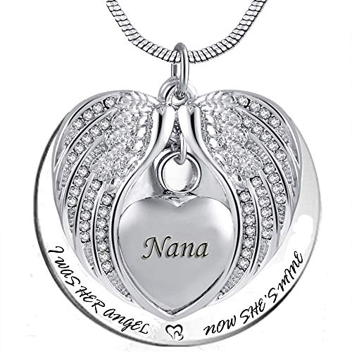 PREKIAR Angel Wing Urn Necklace for Ashes, Heart Cremation Memorial Keepsake Pendant Necklace Jewelry with Fill Kit and Gift Box (Nana)
