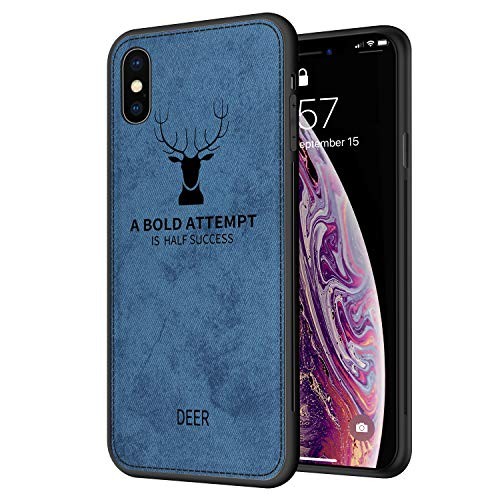 Pattern Edge (IHAITUN iPhone X Case,iPhone XS Case Cloth Pattern Cover with Soft TPU Edge for Apple iPhone X(2017)/iPhone XS(2018),Blue)