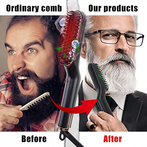 Beard Straightener for Men – Efflemour 3-in-1 Hair Straightening Brush with 30s Fast Ceramic Heating, Portable Ionic Heated Beard and Hair Straightener Comb for Home Travel