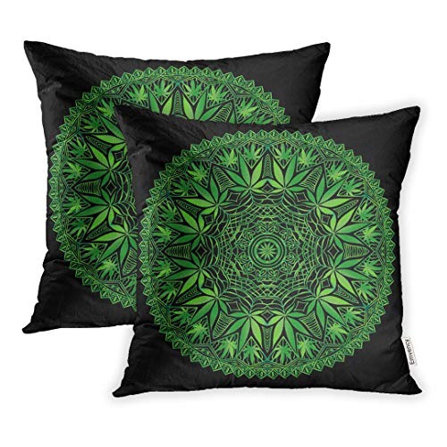 Emvency Set of 2 Throw Pillow Cover Cushion Case Decorative 18x18 Inch Green Abstract Intricate and Funky Cannabis Mandala File Organized for Easy Editing Pillowcase Two Sides Print ()