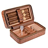 E-SDS Cigar Humidor,Portable Travel Cigar Case, PU Leather Cigar Box Wood Lined 6 Count (Brown)