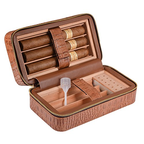 E-SDS Cigar Humidor,Portable Travel Cigar Case, PU Leather Cigar Box Wood Lined 6 Count (Brown) by E-sds