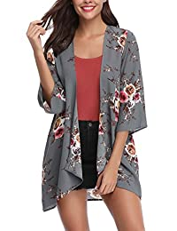 Abollria Women 3/4 Sleeve Floral Chiffon Casual Loose Kimono Cardigan Capes