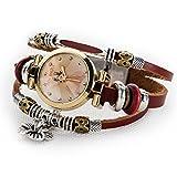Women's Lady's Girl's Fashion Wrist Bracelet Watch With Cute Flower Charm Genuine Leather Band Gift (Flower charm)
