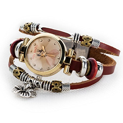 - Women's Lady's Girl's Fashion Wrist Bracelet Watch with Cute Flower Charm Genuine Leather Band Gift (Flower Charm)