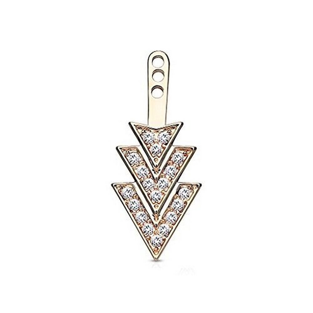 Covet Jewelry Gem Paved Overlapping 3 Triangles Earring Jacket/Cartilage Stud Add on Dangle (Rose Gold/Clear)
