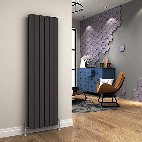 ELEGANT Vertical Designer Radiator Anthracite Double Flat Panel Column Tall...