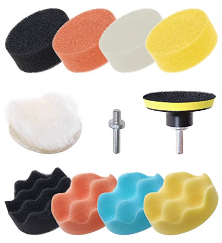 Mini Skater 11 Pcs 3 inch Car Foam Polishing Drill Buffer Compound Kit Buffing Sponge Set Pads Professional Drill for Car Sanding Waxing Sealing Glaze