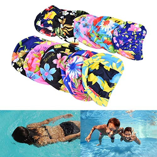 (CUSHY wimming Cap Ruched wimming Cap Women Floral Print wim Hat For Long Hair Ear Protection Cap Pool Bathing Hat: One ize)