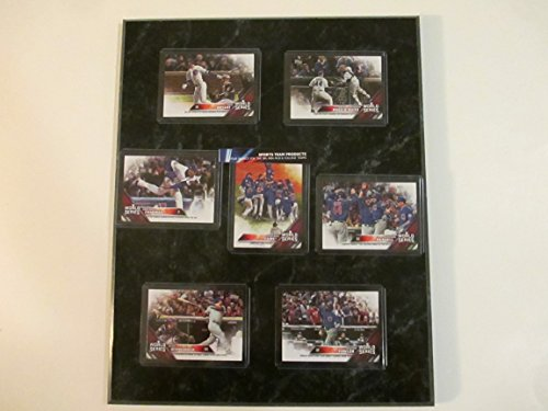 (CHICAGO CUBS 2016 WORLD SERIES CHAMPIONS LIMITED EDITION CARDS MOUNTED ON A 12' X 15' BLACK MARBLE PLAQUE (#1 OF 2 LIMITED EDITION CARD PLAQUES))
