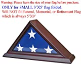3'X5' Flag Display Case Box (NOT for Burial Funeral Flag), SOLID WOOD (Cherry)