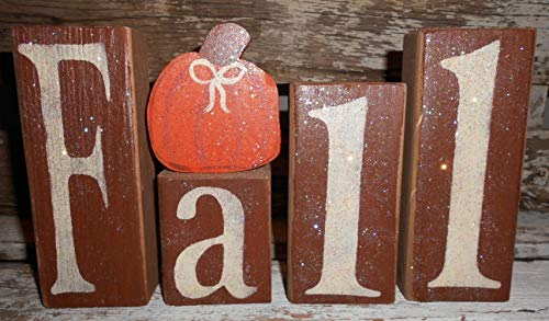 Fall Wood Glitter Brown Blocks With Orange Pumpkin Fall Decoration Personalized Blocks by My Country Cottage Signs
