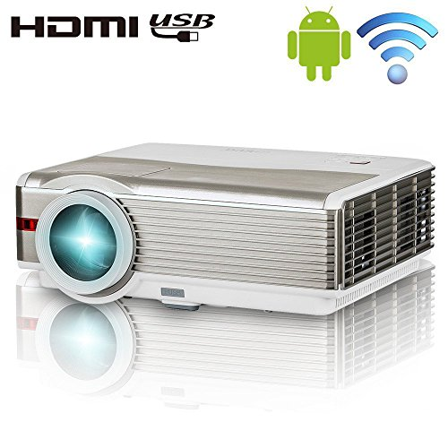 Smart Android Wireless LCD Projector, by EUG, 4200 LED High Lumen HD Video Projector Outdoor Home Theater with WiFI,Hi-Fi Speaker, Keystone, HDMI USB VGA Aux Multimedia Projector for Mobile Phone DVD