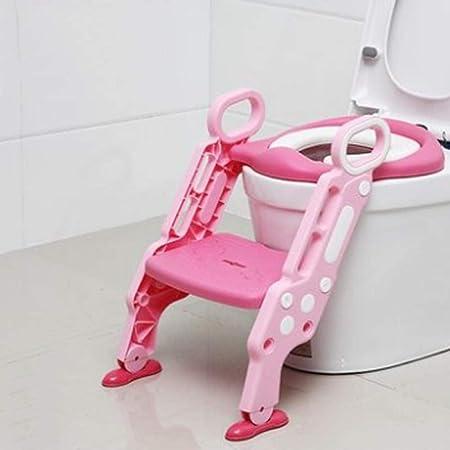 HTBYTXZ Bebé Niños Niños Asiento para IR al baño con Cubierta de Escalera Silla Plegable para baño Entrenamiento para Hacer pipí Asientos en el Orinal Orinales Porcelana Rosa: Amazon.es: Hogar