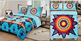 Southwest Design ''Star Blanket'' REVERSIBLE Super Thick_King Size 3pcs Set Turquoise Blue