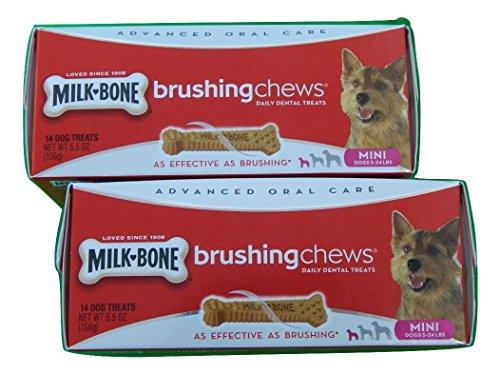 Milk Bone Brushing Chews Daily Dental Treats for Mini Dogs 5-24 Lbs, 14-Count 5.5-oz. Box (Pack of 2)