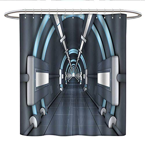 Anniutwo Outer Space Decorlong Shower curtainFantastic Inner View of Rocket Structure Cyber Hallway Trip to Dark MatterShower Curtain liningGray Blue ()