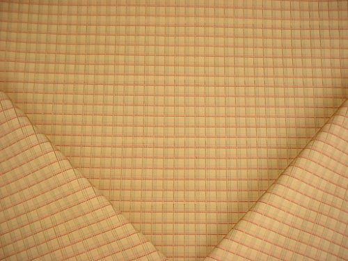 6RT19 - Golden Yellow / Rose Red Woven Cotton Plaid Designer Upholstery Drapery Fabric - By the ()