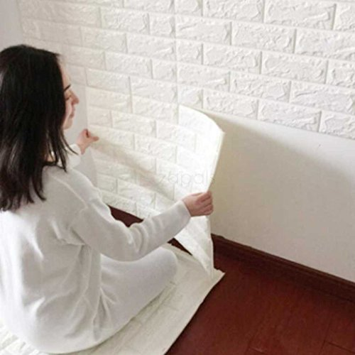 3D White Brick Tile Wallpaper, Waterproof Soundproof Self-adhesive Wall Sticker, Peel and Stick PE Foam Wall Paper Decor for Bedroom Living Room Background 23.6x23.6 Inch per Piece - 10 PC -