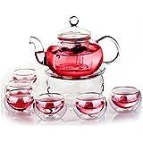 KING DO WAY Heat Resistant Elegant Glass Tea Pot Set Infuser Teapot+Warmer+6 Double Wall Tea Cups Clear 600ml