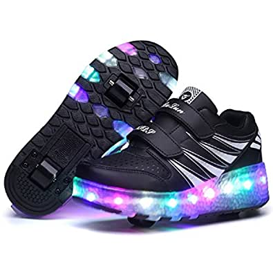 Nsasy Big Girls' Fabric and Leather Roller Skate Shoes 28 M EU=11.5 M US Little Kid Black