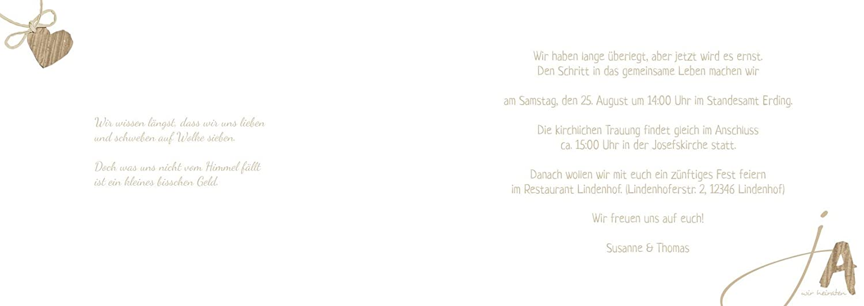 Hochzeitskarten  Einladung Einladung Einladung natürlich Ja 2, hochwertige Einladung zur Heirat inklusive Umschläge   30 Karten (format  148.00x105.00mm) Farbe  Braun B074Z6122R | Elegant  | Online Store  | Umweltfreundlich  7643a8