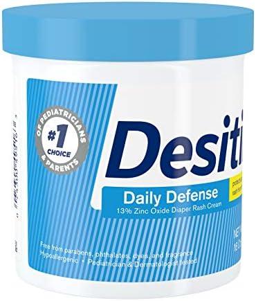 51Z1vJdNSTL. AC - Desitin Daily Defense Baby Diaper Rash Cream With 13% Zinc Oxide, Barrier Cream To Treat, Relieve & Prevent Diaper Rash, Hypoallergenic, Dye-, Phthalate- & Paraben-Free, 16 Oz