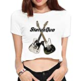 Women Status Quo Band Pictures 40 Years Of Hits Albums Custom Crop Tops