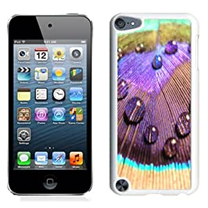 Beautiful Unique Designed iPod Touch 5 Phone Case With Peacock Colorful Feather Dew_White Phone Case
