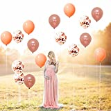 Rose Gold, Confetti and Blush Pink Balloons – Pack of 30, Great for Bridal Shower Decorations, Birthday | Bridal Shower Balloons | Pre-filled Rose Gold Confetti Metallic Balloons, 3 Style, 12 Inch