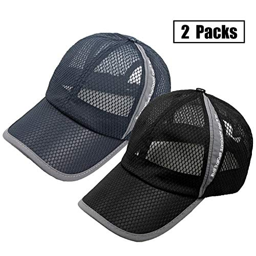 FADA 2 Packs Unstructured Running Cool Mesh Baseball Cap Quick Dry Sports Hat Lightweight Breathable