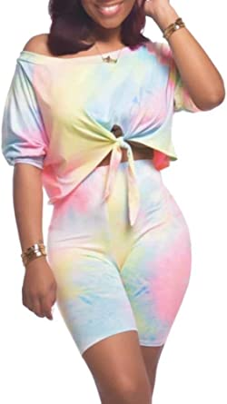 Chatinction Women Off One Shoulder 2 Piece Outfits Clubwear Tie Dye Print Crop Top Bodycon Jumpsuit