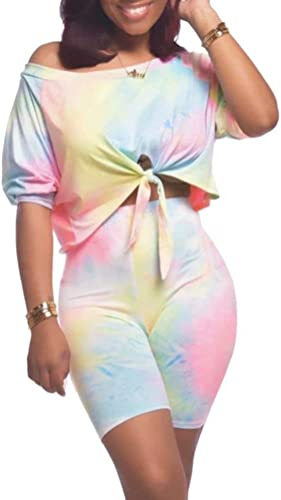 KOOBETON Womens 2 Piece Tie Dye Outfits Off Shoulder Crop Tops Shorts Tracksuits