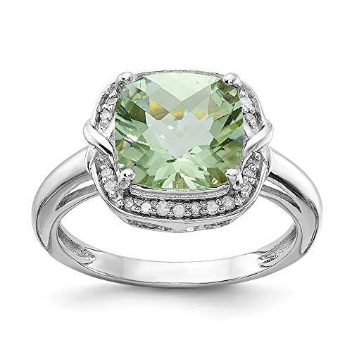 Sterling Silver Rhodium Diam. & Checker-Cut Green Quartz Ring ()