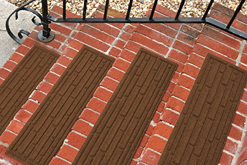 Aqua Shield Broken Brick Stair Treads, 8.5 by 30-Inch, Dark Brown, Set of 4 (Outdoor Step Mats Rubber)