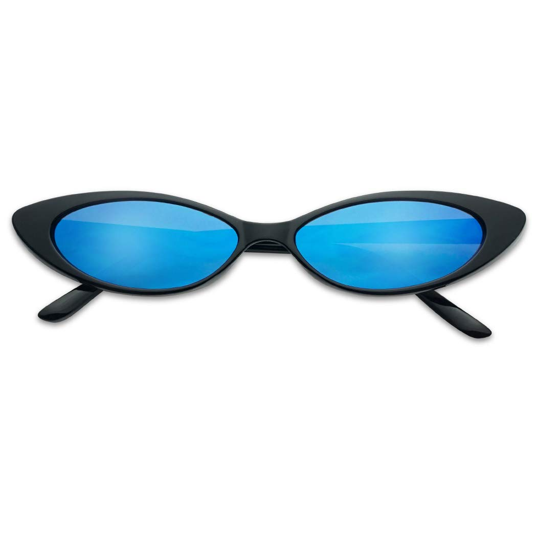 90'sInspired Small Slim Narrow Oval Colorful Mirrored Lens Cat-Eye Sun Glasses (Black Frame | Blue) by SunglassUP