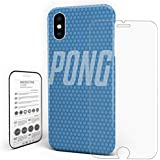 Case/Cover For iPhone X, Phone Case Slim Case Protector Ultra-Slim PC Protective Back Cover PONG With Tempered Glass Screen For Apple By KAROLA