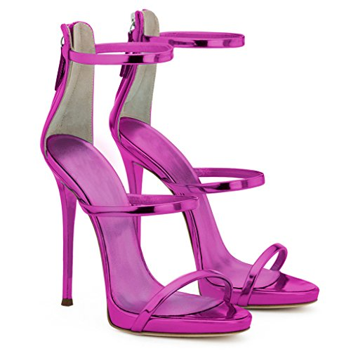 gao Lady Exposed Toe Stiletto Heels Party Patent Leather Pump Sandals,Pink,44 Pink