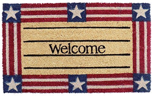 Imports Decor Welcome Stars and Stripes Vinyl Backed Coir Doormat, 30 by 18 by 1/2