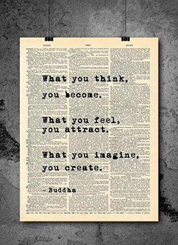 Buddha - What You Think You Become Quote Vintage Art - Authentic Upcycled Dictionary Art Print - Home or Office Decor - Inspirational And Motivational Quote Art (Buddha Art Prints)