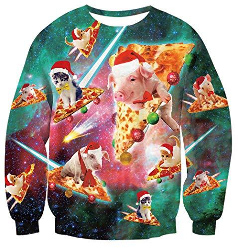 (Womens Ugly Christmas Sweaters Crewneck Sweatshirt Cute Pig On Pizza Flighting Active Sporty Shirt Xmas Animal Piggy Print Long Sleeve Shirt 90's Hister Clothes Large)