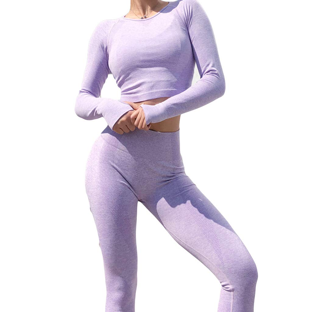 stoertuy 2-Piece Women's Yoga Fitness Stretch-Sleeve Long-Sleeved Top and Leggings for Exercise/Track and Field/Yoga Sportswear by stoertuy