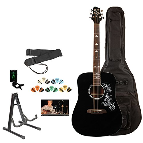 Sawtooth ST-ADN-BLK-D-KIT-3 Acoustic Guitar with Black Pickguard & Custom Graphic by Rise by Sawtooth