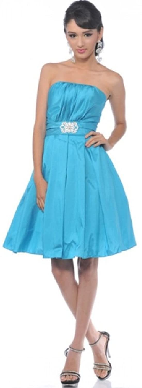 TF Star Women's satin bubble skirt cocktail homecoming prom dress