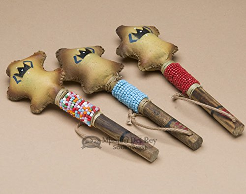 Navajo Indian Rawhide Rattle 6'' - Turtle by Mission Del Rey