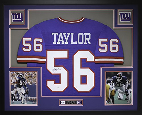 (Lawrence Taylor Autographed Blue Giants Jersey - Beautifully Matted and Framed - Hand Signed By Lawrence Taylor and Certified Authentic by JSA COA - Includes Certificate of Authenticity)