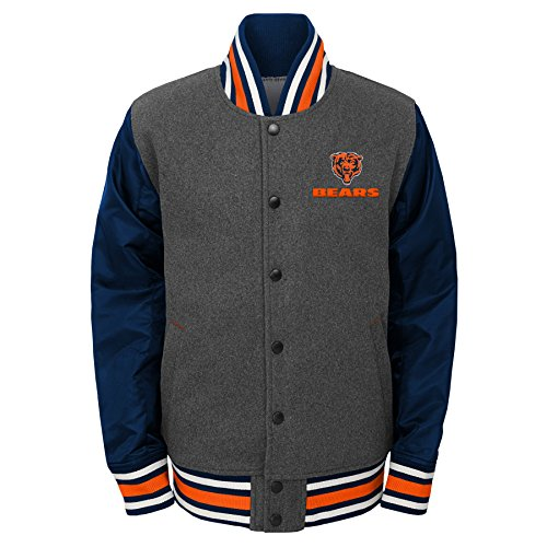 Bears Youth Apparel - NFL Chicago Bears Youth Boys Letterman Varsity Jacket Charcoal Grey, Youth Medium(10-12)