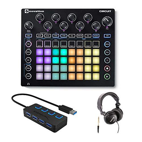 Best Price Novation Circuit Groove Box Drum Machine Bundle with Headphones and 4-Port 3.0 USB HUB