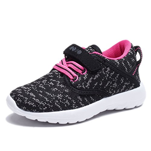COODO CD3001Toddler's Lightweight Sneakers uni-sex Kid's Cute Casual Sport Shoes BLACK/FUCHSIA-10