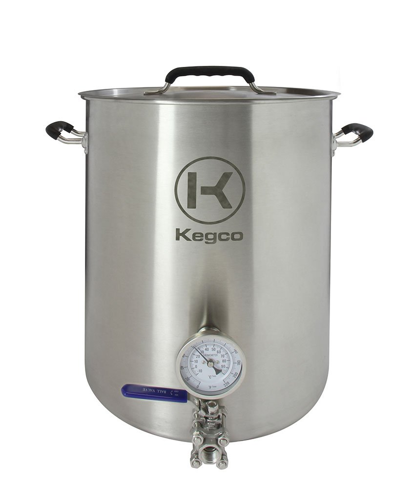 Kegco 10 Gallon Brew Kettle with Thermometer & 3-Piece Ball Valve